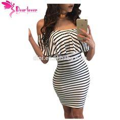 Dear Lover Striped Dresses Summer Slash Neck Black White Women Off-shoulder Bodycon Dress Vestidos Listrado Curto Cheap DRESS