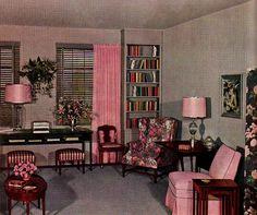 Pink and Grey Living Room, Ladies Home Journal, 1959love!!!