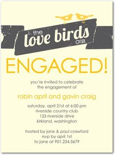 Love birds engagement invitation