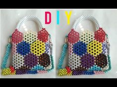 Diy Bags Tutorial, Beaded Boxes, Hand Work Embroidery, Handmade Bags, Bead Crafts, Straw Bag, Hello Kitty, Tote Bag, Beads