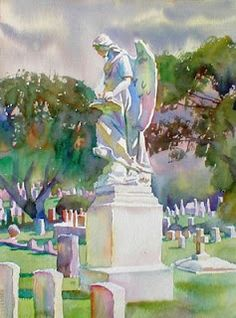 The Turning Angel at the #Natchez City Cemetery by painter Wyatt Waters  www.visitnatchez.org