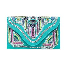 Turquoise Beaded Clutch.