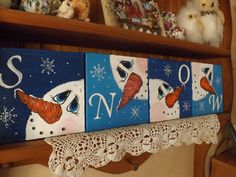 Set of 4 Canvas Snowmen SNOW Wall Art/ Hand by UPCYCLEDDREAMS, $34.98