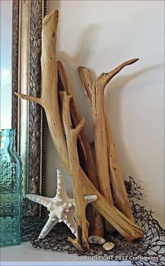 DIY Driftwood Tutorial. Might try a dash of bleach in the soaking process to get a nice beachy gray color.  from Craftiments