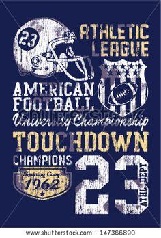 American football - Vintage vector print for boy sportswear in custom colors - stock vector