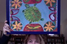 Slider Turtle on Tile painting by SG Criswell