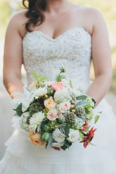 green and peach tone bouquet from QuinceEvents.com // photo by AnnaJayePhotography.com