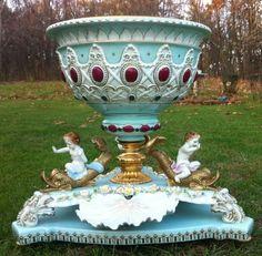 Meissen Dresden Capodimonte Sevres Porcelain Centerpiece Crossed Swords Mark