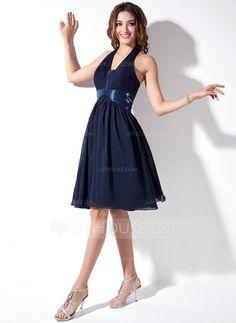A-Line/Princess Halter Knee-Length Chiffon Sequined Homecoming Dress With Ruffle  $99.99