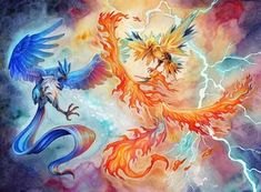 """A piece for the + Honey and Butter """"Pokemon in Love"""" show next month. Fire and Ice Pokemon Pins, Pokemon Memes, Pokemon Fan Art, Cute Pokemon, Pokemon Cards, Latios Pokemon, Articuno Zapdos Moltres, Pokemon Realistic, Deadpool Pikachu"""