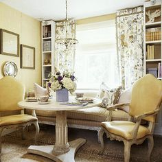 Or, put a sofa in front of two bookshelves in dining room...