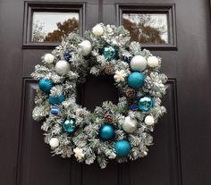Hanukkah Wreath-Hanukkah Decoration Winter by JadieAcresFarm White Snowflake, Snowflakes, Hanukkah Decorations, Silver Glitter, Teal Blue, Christmas Wreaths, Ornaments, Signs, Holiday Decor