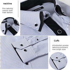 Men Slim Fit Casual Long Sleeve Turn-Down Collar Plaid Striped Shirt at Banggood