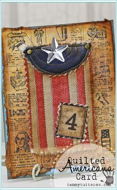 Tammy Tutterow | Quilted Americana Flag Card featuring Tim Holtz Eclectic Elements Fabric.