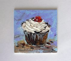 Cupcake Food Mini Small Oil Painting Cake by NuuPaletteKnife