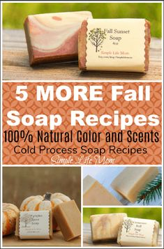 5 Cold Process Fall Soap Recipes with all natural coloring and scented with essential oils. These make great gifts and scent the home with holiday soap. Soap Making Recipes, Homemade Soap Recipes, Homemade Crafts, Soap Making Supplies, Soap Packaging, Goat Milk Soap, Cold Process Soap, Home Made Soap, Holiday Recipes