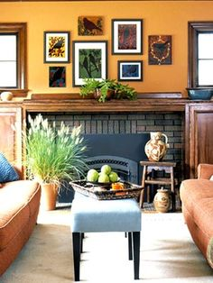 orange living room blue and slate accents