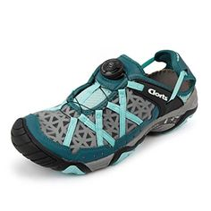 Clorts Womens Boa Seaside Amphibious Athletic Pull On Water Shoe Hiking Water Sneaker Turquoise 3H017B US65 -- Click image to review more details.