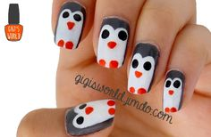 Nail Art : Penguin | I really love penguin because I find them so cute ! And because I've recently made a pencil pot out of a cardboard which has a penguin design, I decided to create a penguin design nail art. I hope you'll like the tutorial :)