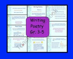 Poetry Writing for Gr. 3-5 PDF product from Teaching-The-Smart-Way on TeachersNotebook.com