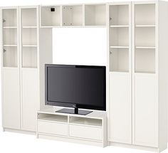 BILLY Bookcase combination with TV bench modern-media-storage