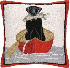 Black Lab & Canoe Hook Pillow