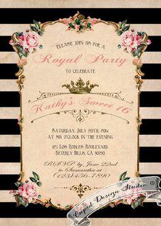 French Birthday invitations. Black stripes. Pink. by CupidDesigns