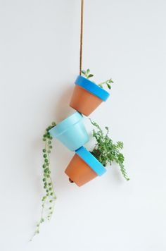 "Blue Sky Small Hand Painted Terracotta Planter. Hanging 2.25"" Mini Clay Pots. Terra Cotta Air Plant Home Decor. Made by Hoopoopla. on Etsy, $24.00"