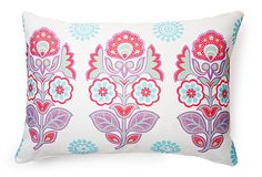 The print on this eye-catching cushion is inspired by exquisite, traditional henna designs. Lovely springtime hues color it contemporary and stylish.