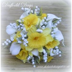 Daffodil Days - Stunning One Off Bridal Bouquet of Daffodil, rose, calla and lily of the valley