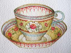 15-7-11 Tea Cup #2 (Watercolor : 10x13cm.)   Flickr - Photo Sharing!