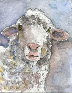 Lamb Art  White Sheep farm animal watercolor by mimistudio