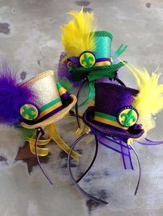 Back in stock! Mardi Gras Fancy Hat Headbands in purple, green & gold, $40.