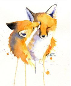 A beautiful watercolor painting of two snuggling foxes. Watercolor Paintings Of Animals, Fox Painting, Watercolor Animals, Painting & Drawing, Cute Drawings, Animal Drawings, Fox Drawing, Fox Illustration, Watercolor Illustration