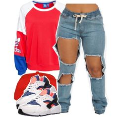 Cheerleader by queen-tiller on Polyvore featuring moda, adidas Originals and NIKE