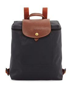 Le+Pliage+Nylon+Backpack,+Gunmetal+by+Longchamp+at+Neiman+Marcus.