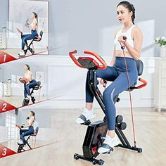 Enjoy exclusive for pooboo Folding Exercise Bike Indoor Cycling Bike Magnetic Upright Bike Stationary Bike Dumbbells,Pull Rope,Pulse online - Thechicfashionideas Indoor Cycling Bike, Cycling Bikes, Bike Indoor, Cycling Workout, Workout Gear, Folding Exercise Bike, Cycle Trainer, Upright Bike, Running Wear