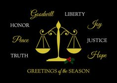 Legal Greetings. Legal Greetings Greetings in white and gold are striking against a black background on this recycled paper, legal / attorney holiday card.