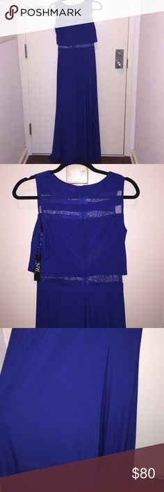 Brand New Royal Blue Floor length gown Brand new! Floor length royal blue gown with split just above the knee. Mesh detail on neck and midsection Dresses Maxi