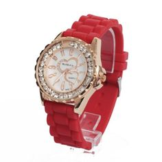 Fancasen Silicone Red Band Round Double Heart Crystal Quartz Lady Girls Wrist Watch $5.79 (save $29.21) Girl Watches, Girls Wrist Watch, Red Band, Square Watch, Quartz Crystal, Bracelet Watch, Crystals, Heart, Lady
