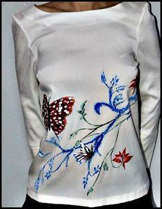 Bluza din matase naturala pictata manual