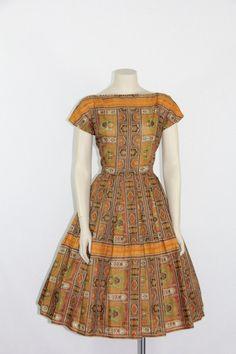 1950s Vintage Dress  Novelty Print Cotton full skirt designer Johnathan Logan by VintageFrocksOfFancy, $120.00