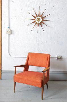 Mid Century Modern Danish Style Orange Lounge by departmentChicago