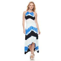 Women's Wdny Black Tie-Dye Halter Maxi Dress, Size: Medium, Brt Blue