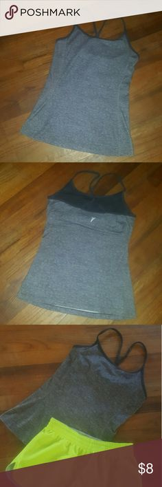 Work it out Old Navy ash gray athletic tank with built in bra lining Sz S Old Navy Tops Tank Tops