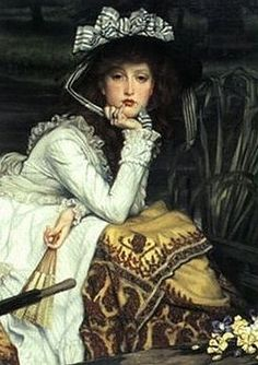 Young Lady in a Boat, detail, oil on canvas 1870, by James Jacques Joseph Tissot, 1836-1902. French artist who spent his career in Britain.