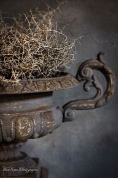 Aged cast iron urn filled with dried undergrowth - Home Decor Details Wabi Sabi, Metallic Spray, Deco Zen, Natural Living, Garden Urns, Decoration Inspiration, Deco Floral, French Decor, Rustic Charm