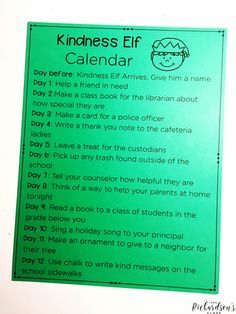 Are you looking to spread a bit more kindness around your school? You should do a kindness elf! Grab this FREE kindness elf calendar and get busy spreading holiday cheer! holidays Kindness Elf in the Classroom - Mrs.