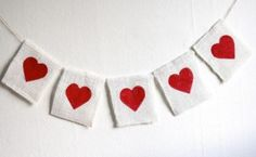 burlap heart garland // my momma told me check out rag wreath tutorial on this. Try to find heart wire wreath for decor???