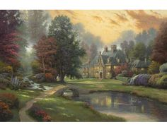 Lakeside Manor Painting by Thomas Kinkade